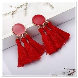 Jewelry - Red Tassel Earrings